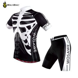 Wholesale Gel Pads For Bikes - Wholesale-2015 WOSAWE Black White Skull Cycling Gel Padded Shorts Jersey Set for Men Brand Design Bike Bicycle Sports Clothing Suit
