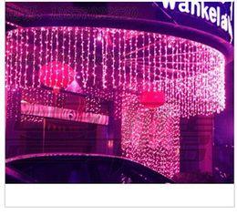Backdrops do feriado on-line-As melhores vendas conduziu a corda 10m * 1m das luzes de cortina do diodo emissor de luz 448 leds Decoração do feriado do casamento da festa de Natal do contexto do Natal Luzes de fadas AC110V-250V