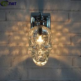 Wholesale Clear Glass Skull Bottles - FUMAT Retro Industrial Loft Wall Lamps Glass Skull Bottle Light Fixture Creative Bar Wall Sconce Modern Wall Light Lamp Chrome