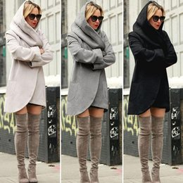 Wholesale Girls White Long Sleeve Blouse - Women Hooded Jackets Winter Long Coat Casual Coat Long Sleeve Sweatshirts Blouses Pullover Outwear Jumper Female Clothes 50pcs OOA3392