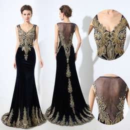 Wholesale Sexy Black Simple Long Dress - 2017 New Arrival Mermaid Formal Evening Dresses Sheer Neck Gold Lace Appliques Beaded Plus Size Velvet Real Photos Special Occasion Gowns