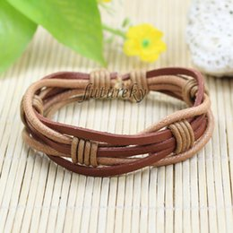 Wholesale Christmas Thongs - Wholesale (7pcs lot) Men Women Unisex Multi thong braided Casual Genuine Leather Bracelet wristband Jewelry Items-LZ124