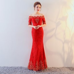 Wholesale Chinese Cheongsams - DJ188 Free Shipping Red lace Long Cheongsams Chinese Traditional Peacock Embroidery Wedding Dress Evening Dress Qi Pao Vestidos