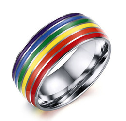 Bande di impegno incise online-Free Engraving 8mm Fashion Engagement Wedding Band in acciaio inossidabile Gay Lesbian Pride Rings - Argento, Oro