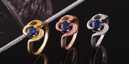 Wholesale Solid Rose Gold Engagement Ring - New Luxury 18k Solid Yellow Gold plated crystal Zircon Gemstone Ring Gold engagement wedding lovers couple Ring,Free Shipping