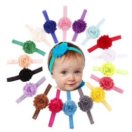 Wholesale shabby chic flower bow wholesale - Baby girl headband 18 colors Shabby Chic Flower Elastic Headbands for Girls Infant Flower Headband Boutique Hair Bows 50pcs lot
