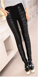 Wholesale Tight Black Stretch Pants - Women new winter leisure fashion high waist and thickening warm tight stitching stretch leather pants like a pencil. M - 2xl