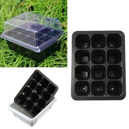 Wholesale Nursery Trays - Plastic Nursery Pots 12 Holes Plant Seedling Tray Sprout Plate Garden Tray Tool Box Black Color Wholesale