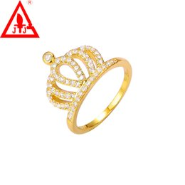 Wholesale 24k White Gold Rings - 24K Gold Plated Luxury Rings Jewelry Charms Crown AAA CZ Crystal Simulation gemstone 1ct Engagement Wedding Dressed Hot Sale Free Shipping