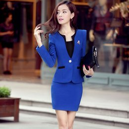 Wholesale Women Working Skirt Suits - Hot sale Spring fall Professional women's Dress Suit Female uniform OL skirt career business suits free shipping