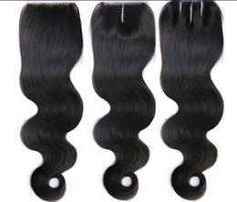 color de pelo para los asiáticos Rebajas 100% pelo de la Virgen Humana Brasileña 3.5 * 4 Cierre de Cordón Cierre Superior Extensiones de Cabello Humano Onda del Cuerpo Color Natural DHL Envío Gratis