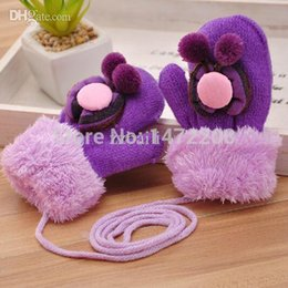 Wholesale Baby Gloves Flower - Wholesale-Free Shipping 2015 Baby Flower Design Candy Color Warm Cotton Gloves Children's Winter Thickening Warm Gloves