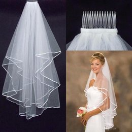 Wholesale Tulle Sale Free Shipping - 2 Layers Tulle Bridal Veils Hot Sale Cheap Wedding Bridal Accessory 2015 Short Bridal Veils Free Shipping
