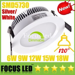 Wholesale Recessed Ceiling Light Fixtures - SMD5730 6W 9W 12W 15W 18W Dimmable LED Panel Lights Silver White Shell Downlights Power Supply Fixture Recessed Ceiling Down Light Lamps CSA