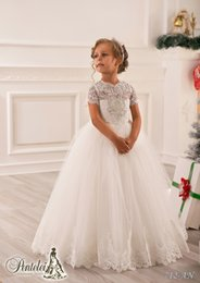 Wholesale Crysta Wedding Dresses - 2016 Short Sleeve Flower Girls Dresses for Weddings Jewel Neck Crysta Applique Lace and Tulle Princess Kids Formal Wear Floor-Length