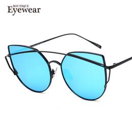 Wholesale Unique Boutique Fashion - Wholesale- BOUTIQUE Women Cat Eye Sunglasses Vintage Fashion Metal Frame Mirror Sun Glasses Unique Flat Round Sunglasses UV400