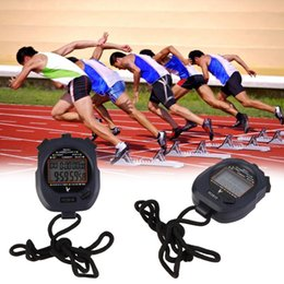 Wholesale Stop Digital - Professional Sport Stopwatch 10 Memory Large 2 Row Display Digital LCD Timer Stop Watch Chronograph New