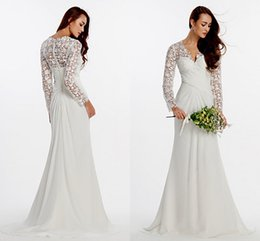 Wholesale Long Dress Vneck - Long Sleeves Muslim Wedding Dresses 2016 White Vneck Sheath Covered Button Lace And Chiffon Bridal Gowns Stunning Vestidos Noiva WWL