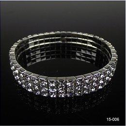 Wholesale Cheap Gift Set Free Shipping - Hot Sale 3 Row Rhinestone Stretch Bangle Wedding Bracelet Bridal Jewelry 15006 Cheap High Quality Free Shipping