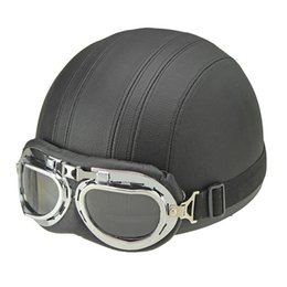 Wholesale Vespa Scooter Helmets - Wholesale- Hot Sell Brown Synthetic Leather vintage Motorcycle Motorbike Vespa Open Face Half Motor scooter Helmets Visor Goggles