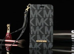 Wholesale Iphone Leather Wallet Strap - Luxury brand flip wallet case PU leather phone holster for iphone X 7 7plus 8 8plus card slot with Hand Strap for iphone 6 6S 6plus