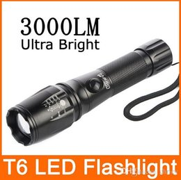 Wholesale Cree Light Rechargable - Ultra Bright LED Rechargable Torch Light Cree T6 Adjustable LED Flashlight 3-Modes 3000LM Linterna tacha Battery 18650 AAA CE RoHS approved