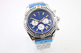 Wholesale 48mm Quartz - Special Edition Chronometre Quartz Men's Wristwatch Three Zone 48mm Full Stainless Steel Belt Black Face Male Moon Watch Relojoes