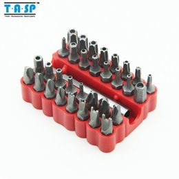 """Wholesale Torx Sets - 32PC CRV Security Tamperproof Screwdriver Bits Set with Hollow Torx Hex Head and 1 4"""" Hex Shank Free Shipping"""
