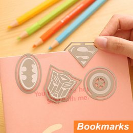 Wholesale Clip Book Ends - 12 pcs Lot Metal bookmarks Super Hero movie Paper clips for book holder Novelty bookmark Stationary Office School supplies 6452