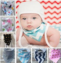 Wholesale Handmade Scarves - KIDS Saliva Towel Triangle Head Scarf Bandana Kids Feeding Bibs Baby Bibs Handmade Burp Cloths Infant INS Bandana Scarf Bibs KKA3233