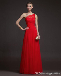 Wholesale Cheapest Bridesmaids Dresses - 2015 Beach Bridesmaid Dresses Vintage Sheer Cheapest A Line One Shoulder Tulle Floor Length Sleeveless Red Prom Gowns new Evening Dresses