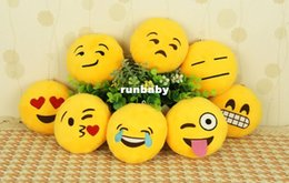 stuffed animal cushion Promo Codes - 10cm*10cm Soft Emoji Smiley Emoticon Yellow Round Cushion Pillow Stuffed Plush Cushion plush Emoji Keychain Stuffed Plus Animals doll