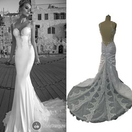 Wholesale Wedding Dresses Open Feather Train - New Arrivals Spaghetti Strap Sexy Open Back Wedding Dresses 2015 Real Images Bridal Dresses With Lace Beads