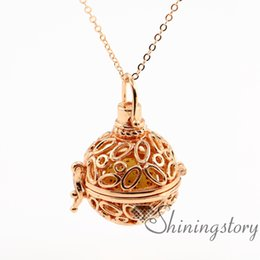 Wholesale gold oval locket necklace - oval openwork essential oil diffuser necklace diffuser necklaces wholesale diffuser necklaces locket pendant necklace metal volcanic stone