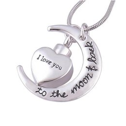 Wholesale wholesale snake chain heart pendant - I love you to the Moon Memorial Cremation Jewelry Stainless Steel Funeral Ashes Urn Pendant Necklace
