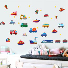 Wholesale Cars Kids Bikes - Cars Train Motor Bike Ship Transportation Wall Stickers for Kids room Decoration Decals Children Wall Art Car Sticker