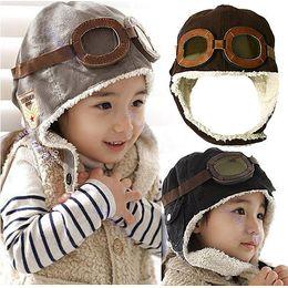 "Wholesale Aviator Pilot Hat - Y92"" Free Shipping New Cute Baby Toddler Boy Girl Kids Pilot Aviator Cap Warm Hats Earflap Beanie"