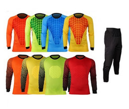 Wholesale Matches Windproof - Best Quality 2016 New Men Soccer Goalkeeper Sponge Protector Suit Camisetas De Futbol Jersey Uniforms Goalkeeper Training Suit Match Shirts