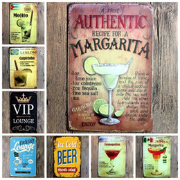 Wholesale Home Pubs - Vintage Style Metal Painting Many Styles Cocktail Tin Sign Wall Decoration For Bar Cafe Home Club Pub 4 99lja C