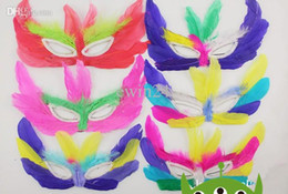 Wholesale Mardi Gras Feathers Wholesale - Fashion Colorful sexy Women feather masquerades face masks Halloween masks Mardi Gras dancing party props decoration