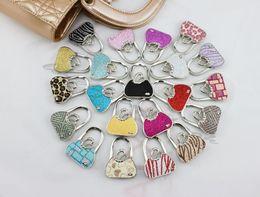 Wholesale Handbag Hangers Wholesale - Metal Foldable PU Bag Purse Hook Bag Hanger Purse Hook Handbag Holder Shell Bag Folding TablePurple Leaf