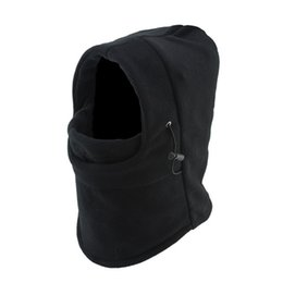 Wholesale Double Layer Fleece - Double Layer Balaclava Fleece Hat Outdoor Cycling Motorcycle Windproof Helmet Mask For Man Winter Cap hb328
