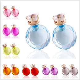 Wholesale Colored Ball Stud Earrings - 2015 Clear Crystal Glass Ball Earrings Double Side Candy Colored beads Stud Earrings fashion Jewelry For Women Girls