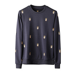 Wholesale Long Coats For Mens - 2017 autumn new crown bee embroidery luxury brand sweatshirt for men ~ mens designer crewneck sweatshirt tops coat