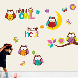 Wholesale Decal Baby Room Owl - Cute Owls on MoonTree Branch Wall Art Mural Decor Kids Babies Children Room Nursery Wall Decoration Decal Owls Night Wall Quote Sticker