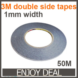 Wholesale Masking Tapes - Wholesale-10pcs lot 1MM * 50M Double Sided Adhesive Tape for cellphone LCD Touch Panel frame