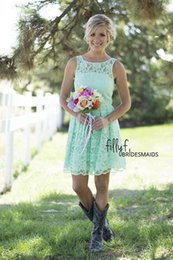 Wholesale Short Mint Ruffled - Summer Mint Green Short Bridesmaid Dresses 2016 Style Bohemian A-line Short Full Lace Wedding Guest Gowns Prom Dresses under 100 Long Custom