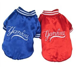 Wholesale Cheap Clothing For Dogs - Wholesale-New 2014 Pet Products Cotton Dog Clothes yankees baseball Jacket For Dogs clothing two color Cheap Price Free Shipping
