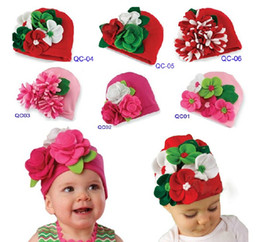 Wholesale Ems Flower Red - EMS DHL Free Shipping baby Toddler girls lace flowers hat infant head wear lace hat cap Christmas Gift Party wear
