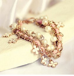 Wholesale Letter Bracelets For Men - Bracelets For Women Fashion Gold Pearl Crystal Heart Charm Bracelets & Bangles Pulseiras Femininas Pulseras Bijoux Men Jewelry